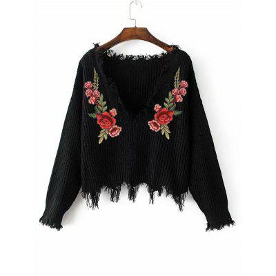 Buy BLACK Frayed V Neck Floral Embroidered Pullover Sweater for $22.04 in GearBest store