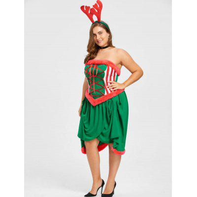 Christmas Plus Size Lace Up Dress with Hair BandsPlus Size Dresses<br>Christmas Plus Size Lace Up Dress with Hair Bands<br><br>Dresses Length: Knee-Length<br>Material: Polyester, Spandex<br>Neckline: Strapless<br>Package Contents: 1 x Dress  1 x Hair Bands<br>Pattern Type: Solid<br>Season: Spring, Fall<br>Silhouette: Sheath<br>Sleeve Length: Sleeveless<br>Style: Cute<br>Weight: 0.5400kg<br>With Belt: No