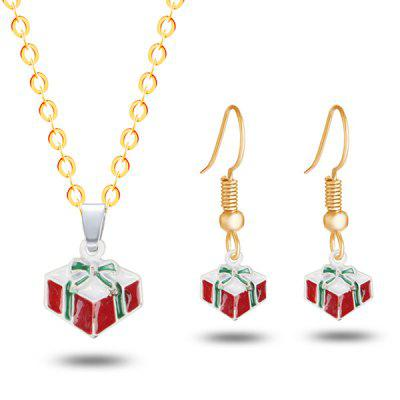 Buy GOLDEN Christmas Bowknot Gift Necklace and Earrings for $1.91 in GearBest store