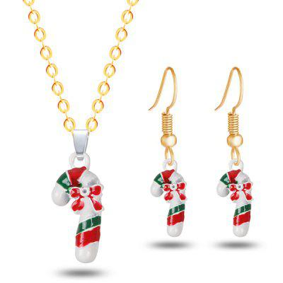 Christmas Bows Candy Cane Necklace and Earrings