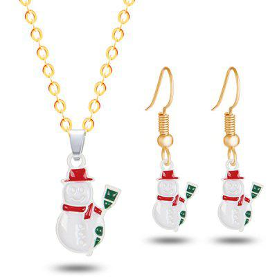 Christmas Snowman Necklace and Earrings