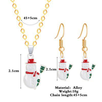 Christmas Snowman Necklace and EarringsJewelry Sets<br>Christmas Snowman Necklace and Earrings<br><br>Gender: For Women<br>Item Type: Pendant Necklace<br>Length: 50CM (Necklace)<br>Necklace Type: Link Chain<br>Package Contents: 1 x Necklace 1 x Earring (Pair)<br>Shape/Pattern: Water Drop<br>Style: Trendy<br>Weight: 0.0300kg