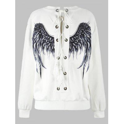 Lace Up 3D Wing Print Sweatshirt