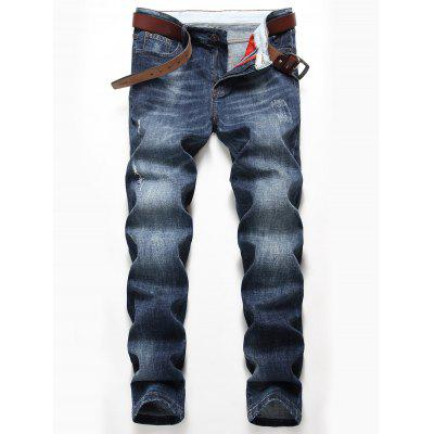 Straight Leg Distressed Faded Jeans
