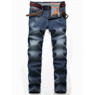 Buy DENIM BLUE 32 Zipper Fly Straight Leg Classic Jeans for $35.25 in GearBest store