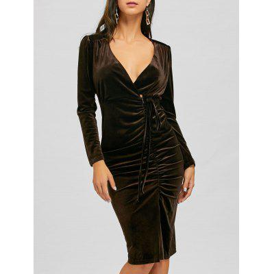 Long Sleeve Ruched Slit Bodycon Dress