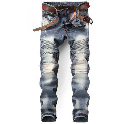 Slim Fit Zip Fly Distressed Biker Jeans