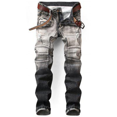 Slim Fit Zip Embellished Distressed Ombre Jeans