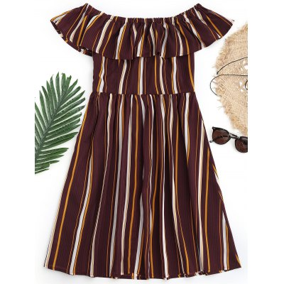 Ruffles Striped Off Shoulder Beach DressLingerie &amp; Shapewear<br>Ruffles Striped Off Shoulder Beach Dress<br><br>Cover-Up Type: Dress<br>Gender: For Women<br>Material: Polyester<br>Package Contents: 1 x Dress<br>Pattern Type: Striped<br>Weight: 0.3000kg