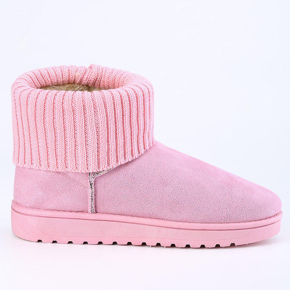 Knitted Fold Over Suede Ankle Boots