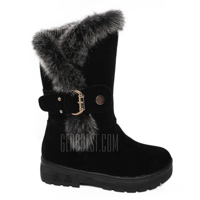 Buckle Strap Side Zip Mid Calf Boots
