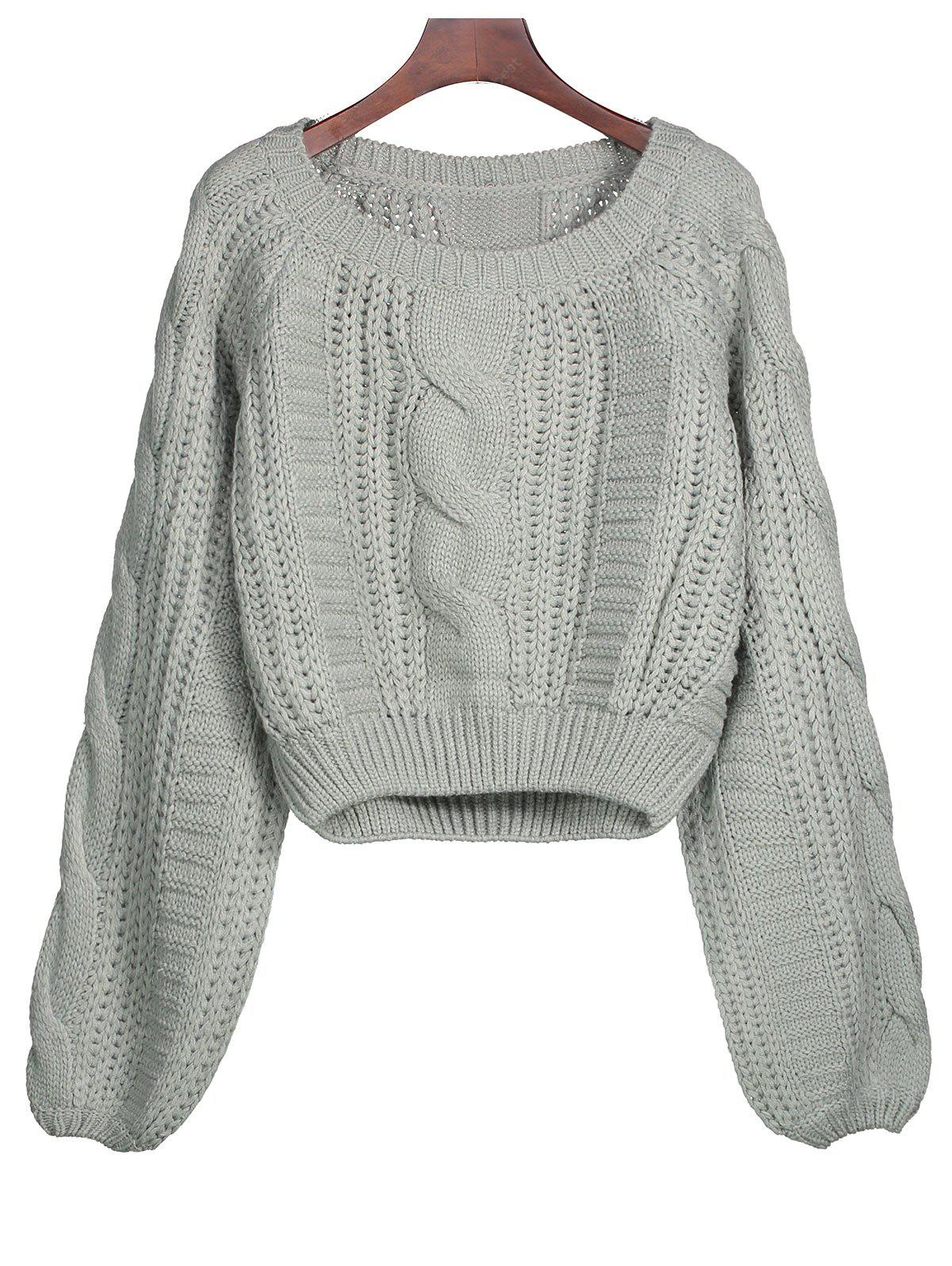 Cable Knit Lantern Sleeve Cropped Sweater