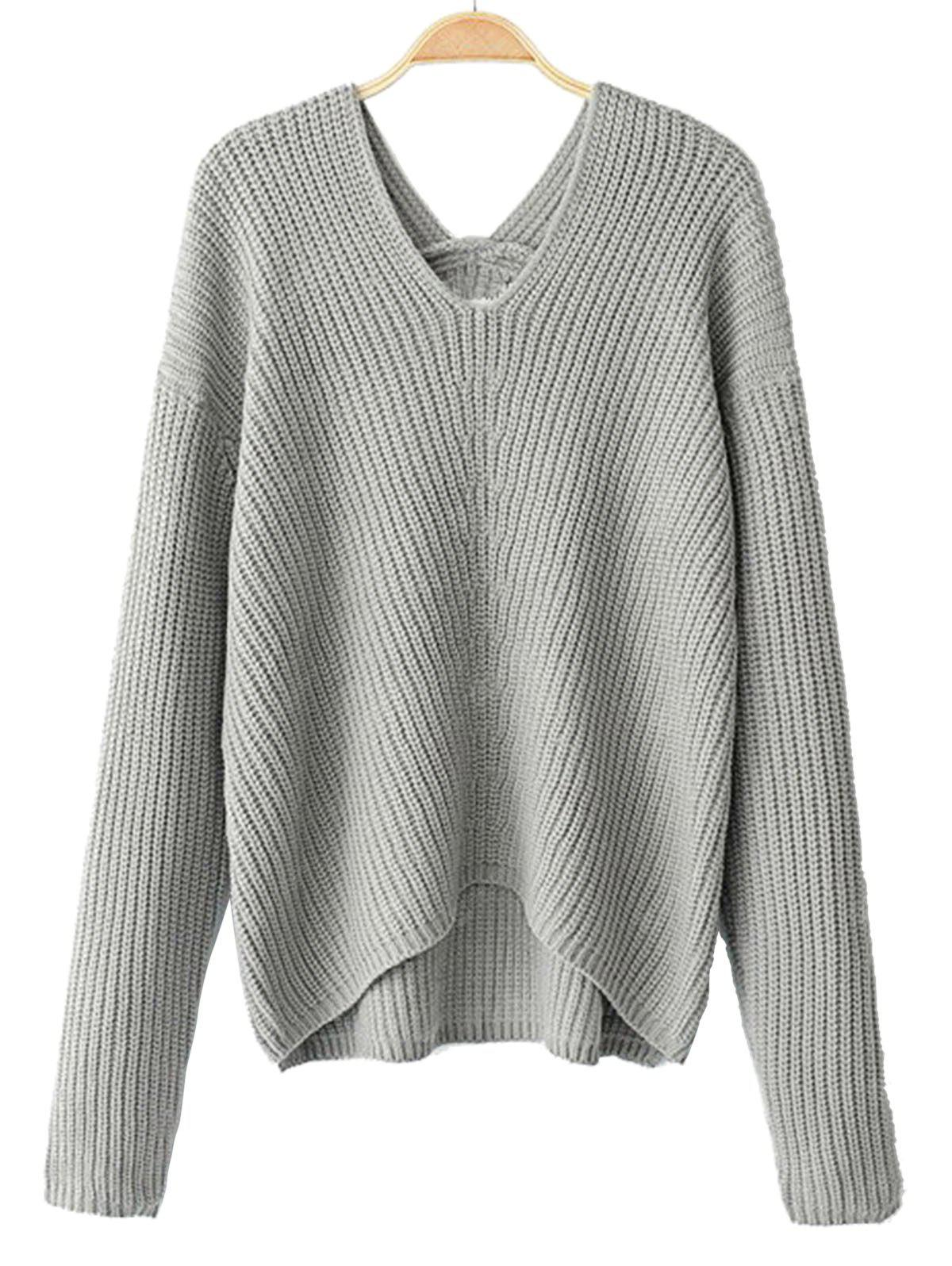 V Neck High Low Pullover Sweater