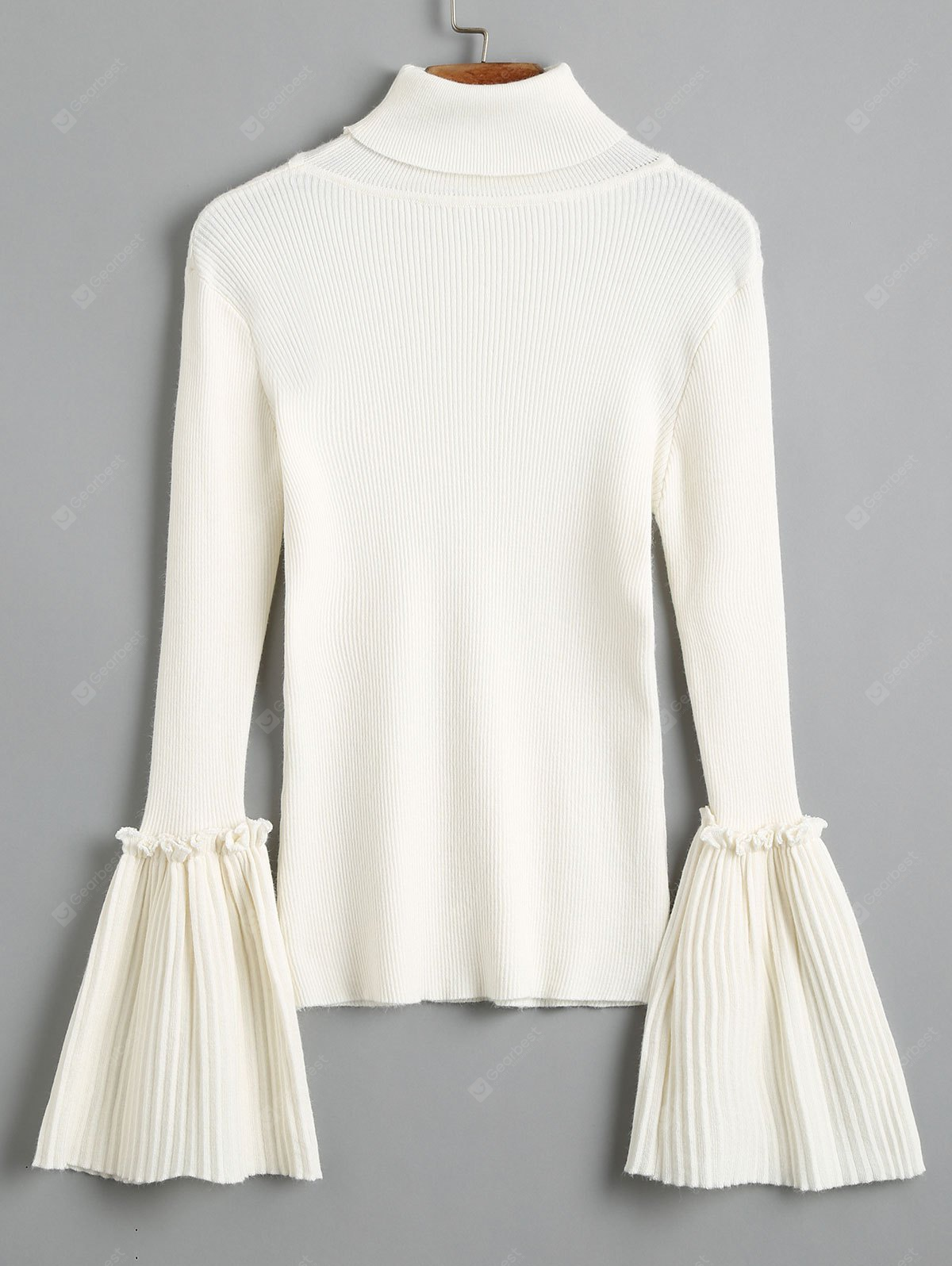 Turtleneck Flare Sleeve Knit Sweater