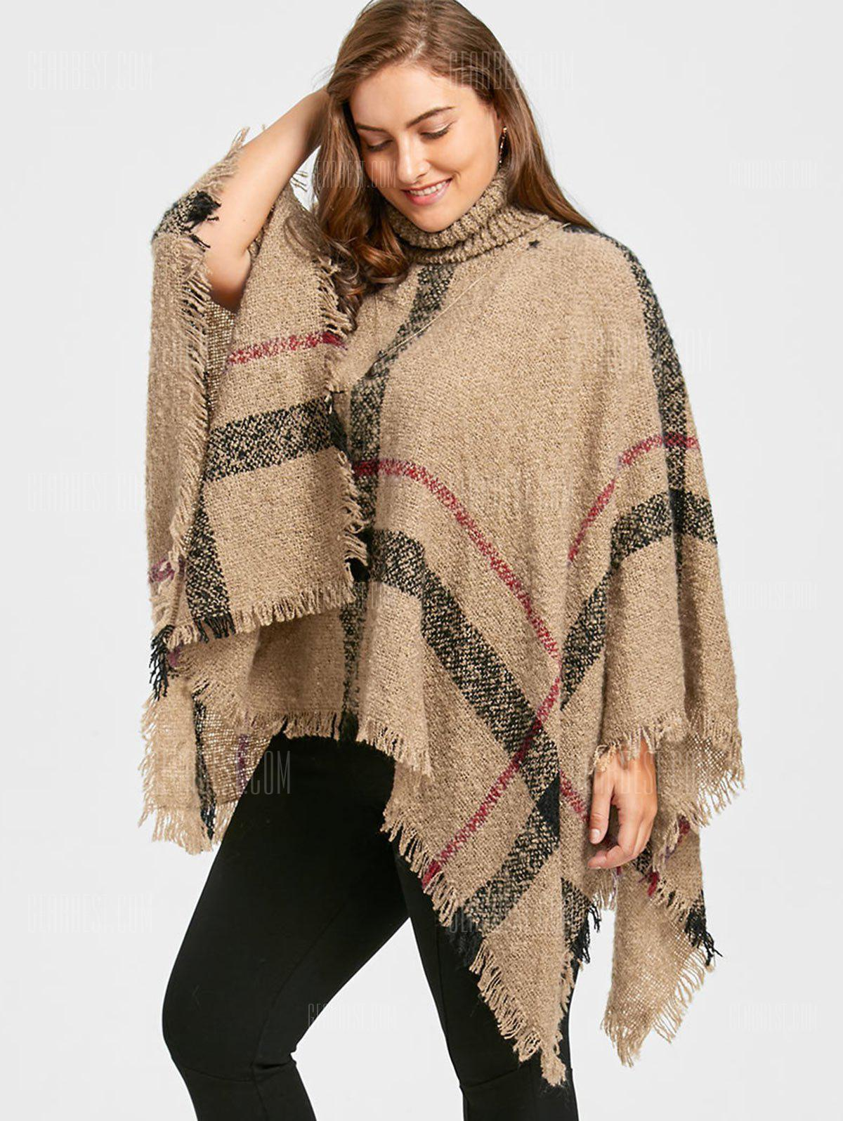 Print Turtleneck Plus Size Cape Sweater