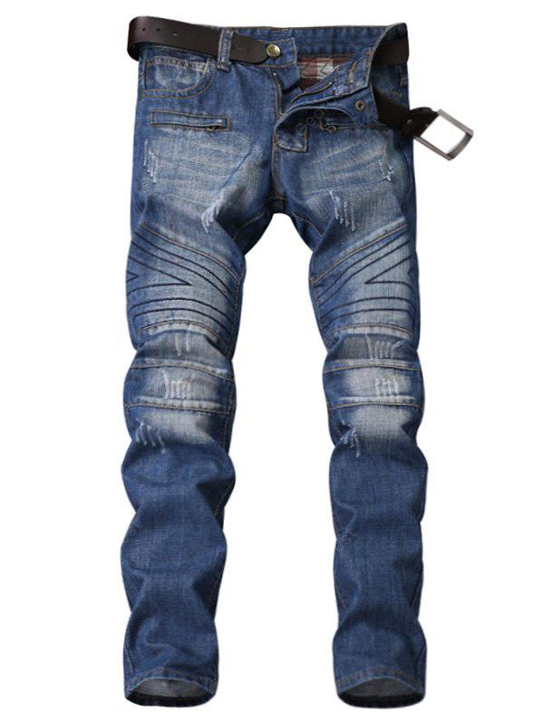 Zipper Fly Panel Sutura Geométrica Bleached Ripped Jeans