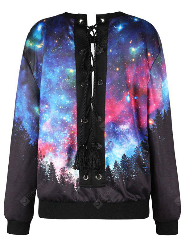 Lace Up Forest Starry Sky Print Sweatshirt