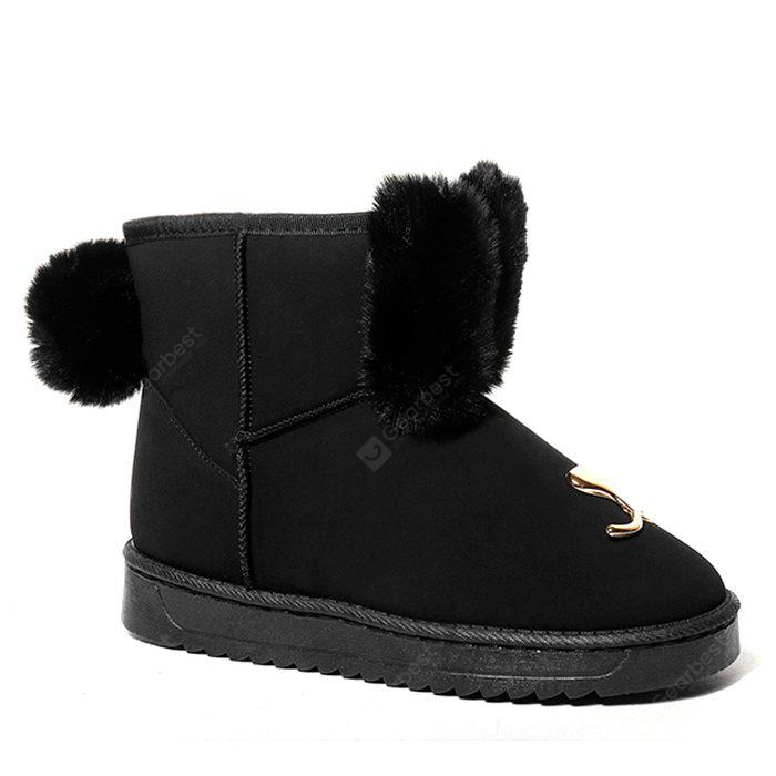 Metal Detailed Pompom Snow Boots