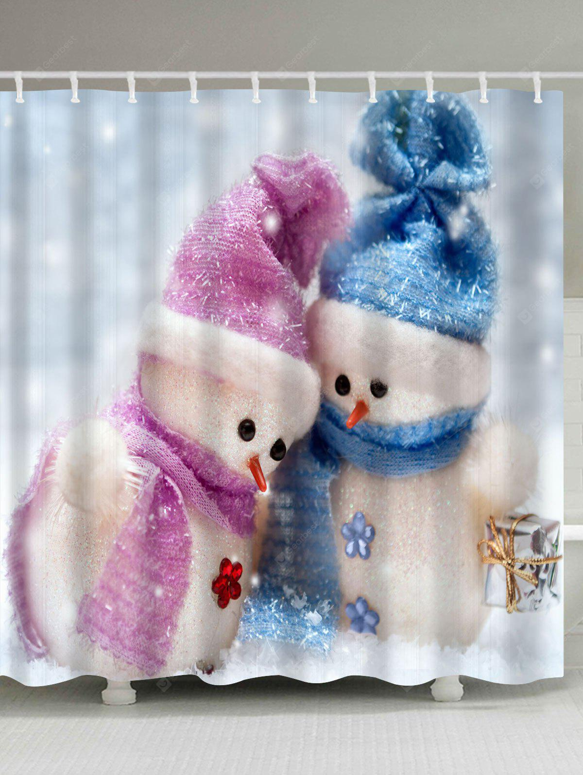 Christmas Snowman Couples Print Waterproof Shower Curtain