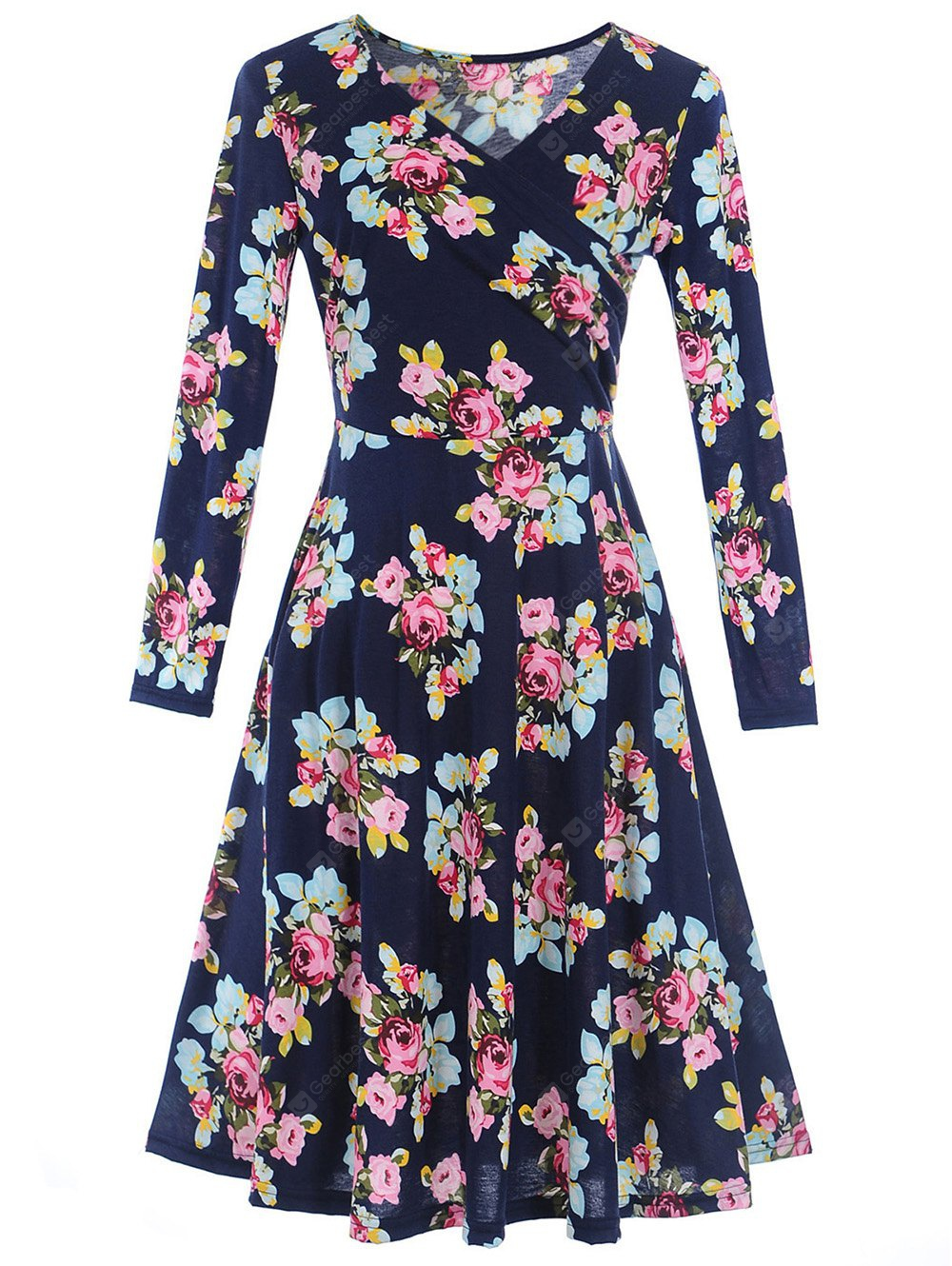 Surplice Long Sleeve Floral Print Dress