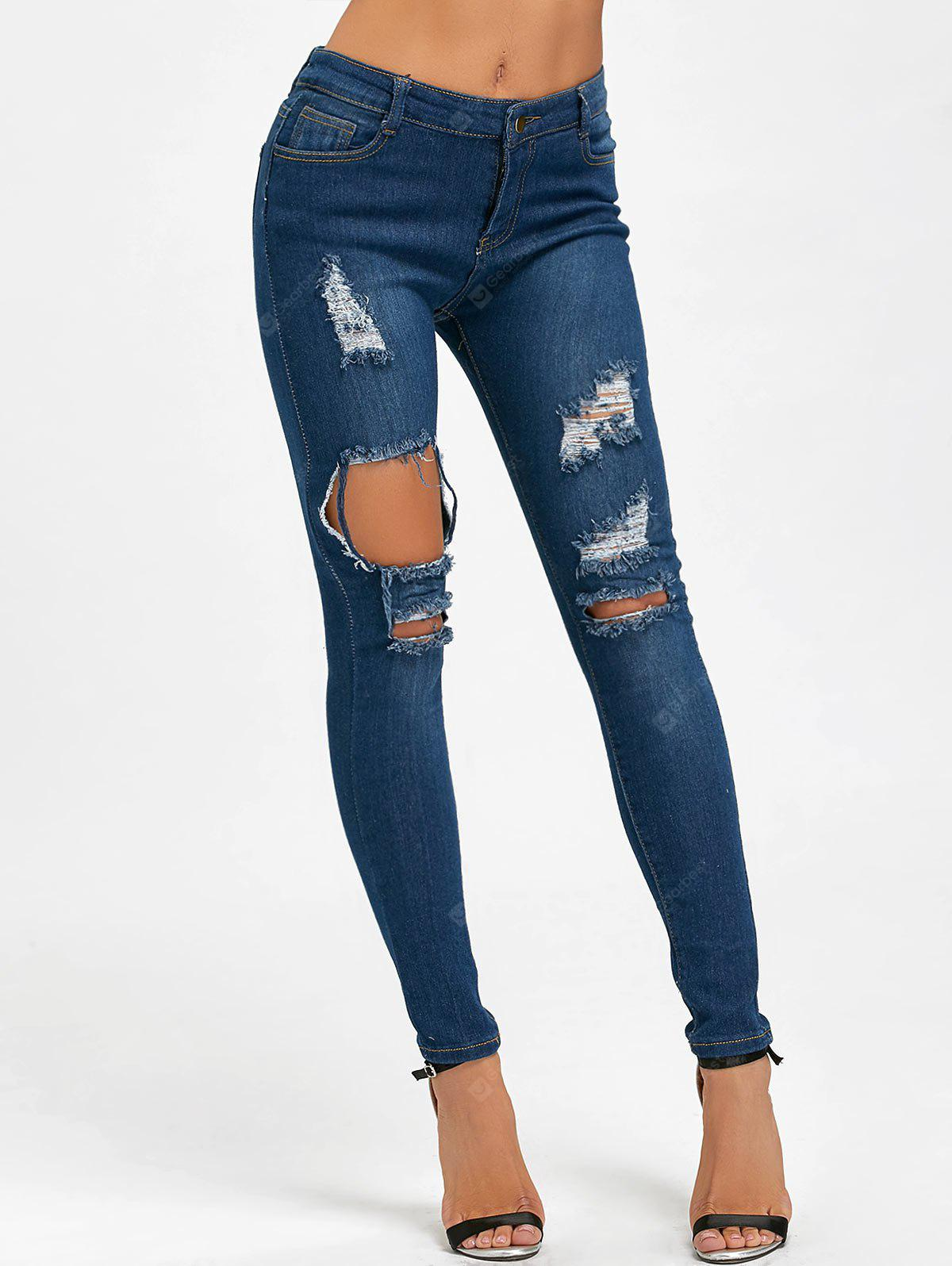 BLUE M Skinny High Waisted Ripped Distressed Jeans