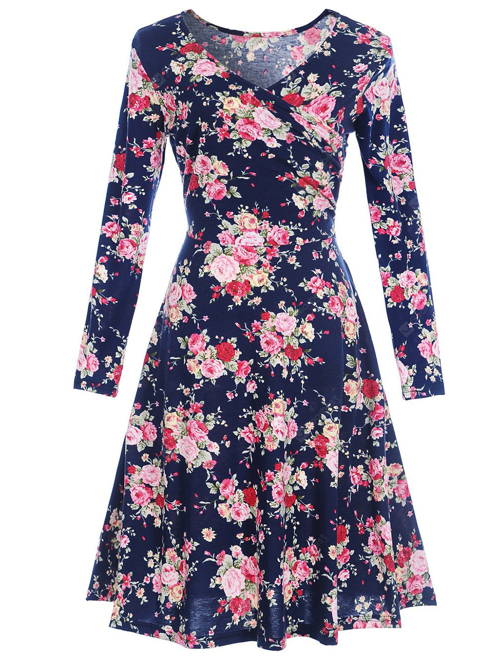V Neck Long Sleeve Floral Print Dress
