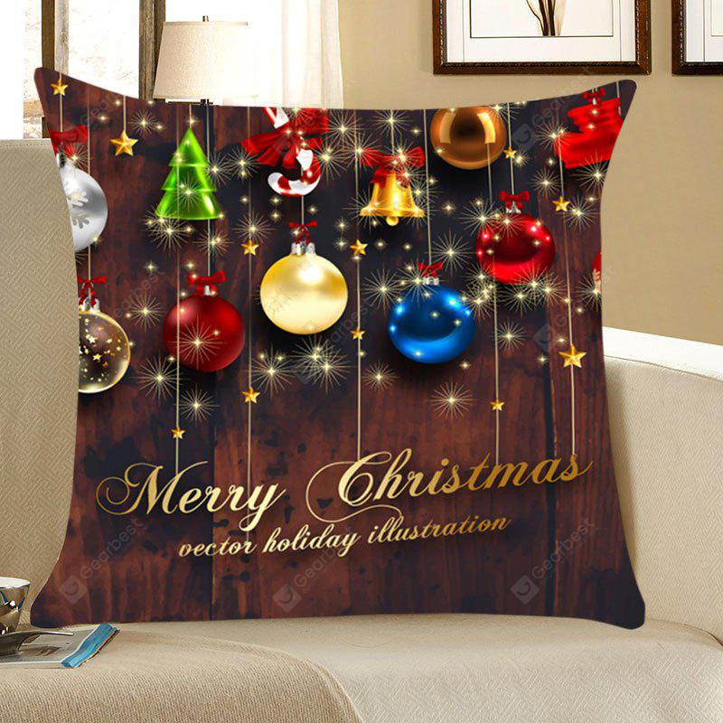 Christmas Colorful Balls Patterned Throw Pillow Case