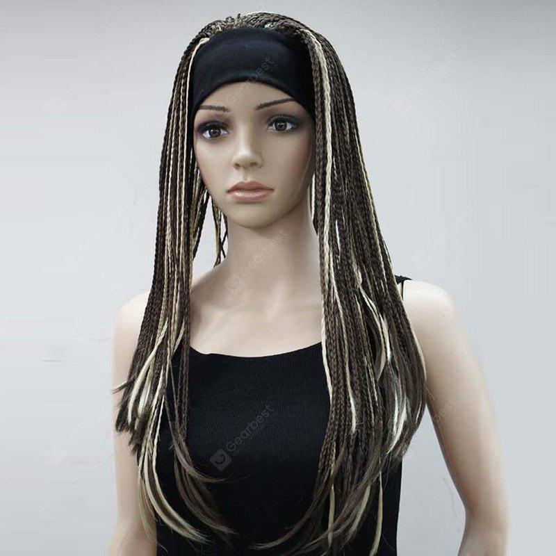Long Highlight Handmade Micro Braids Straight Synthetic Wig
