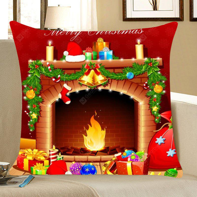 Christmas Fireplace Pattern Decorative Pillow Case