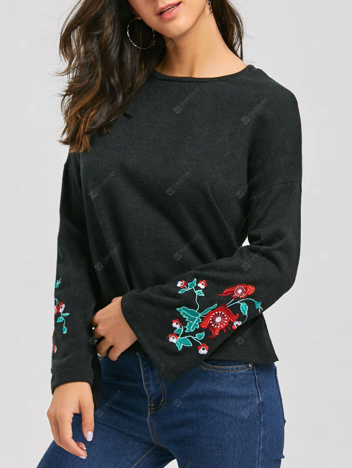 Embroidery Flare Sleeve Sweater