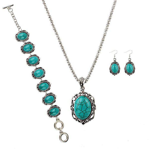 Bohemian Faux Turquoise Oval Jewelry Set