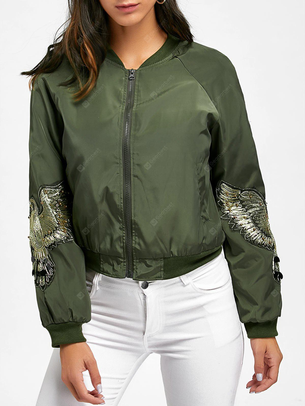 Bird Embroidered Baseball Jacket