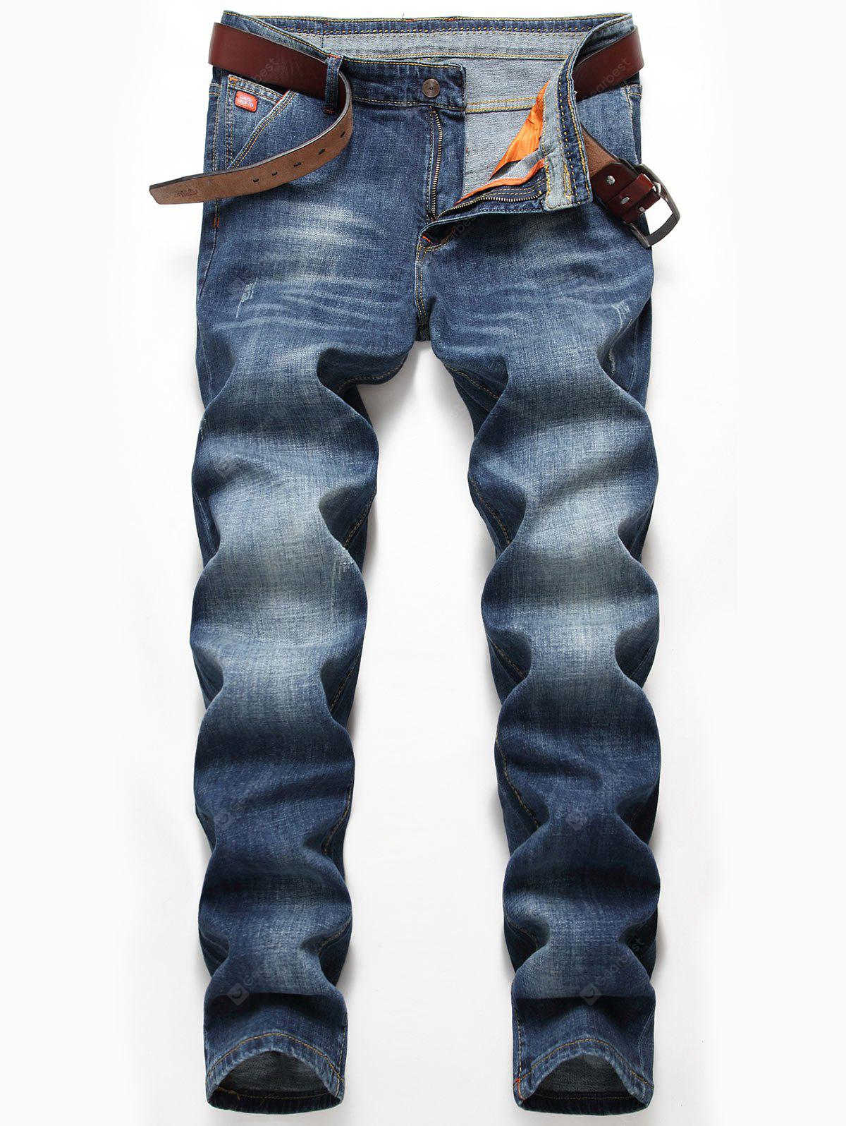 Zip Fly Whisker Design Straight Jeans