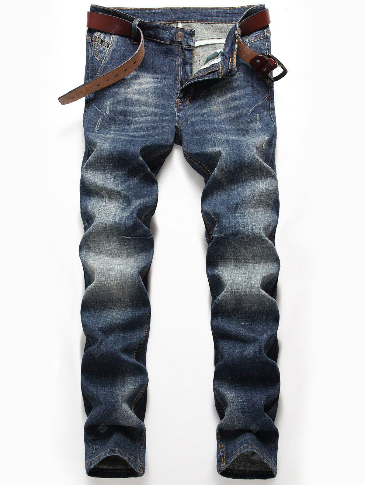 Zip Fly Whisker Jeans with Straight Leg