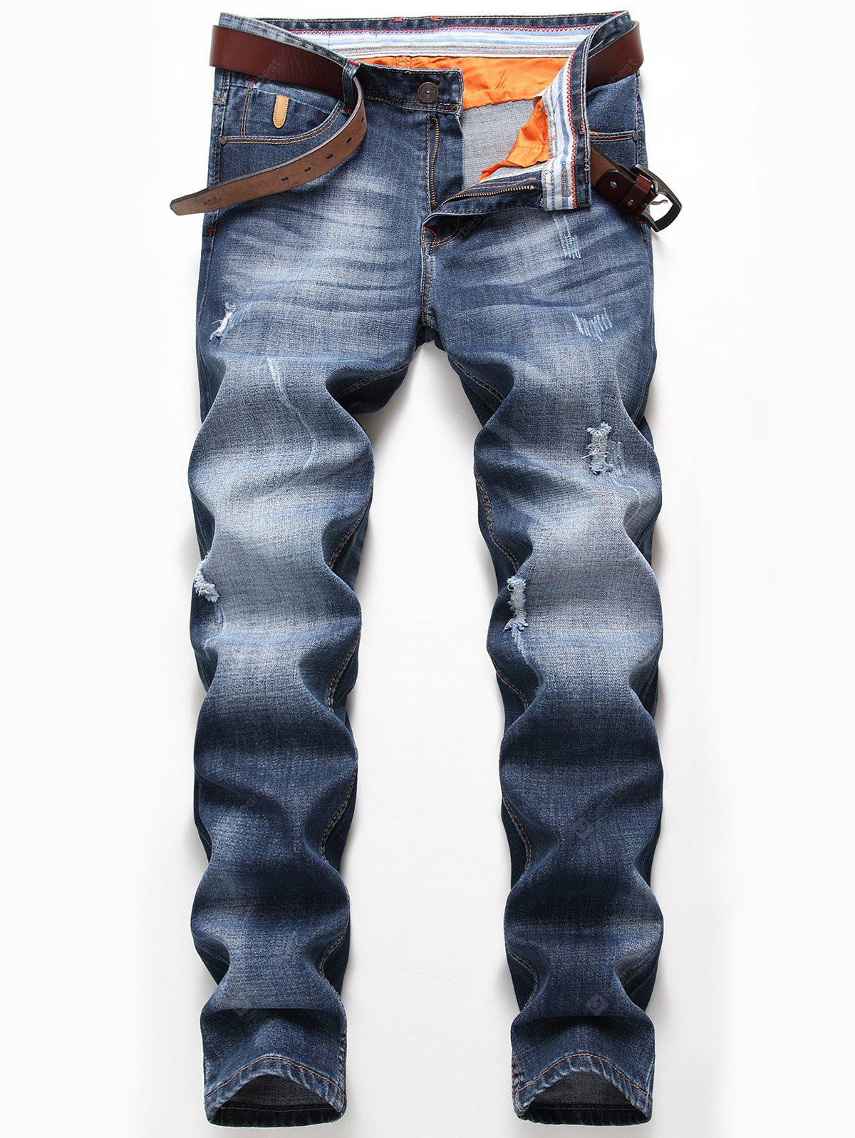 Faded Zip Fly Straight Distressed Jeans