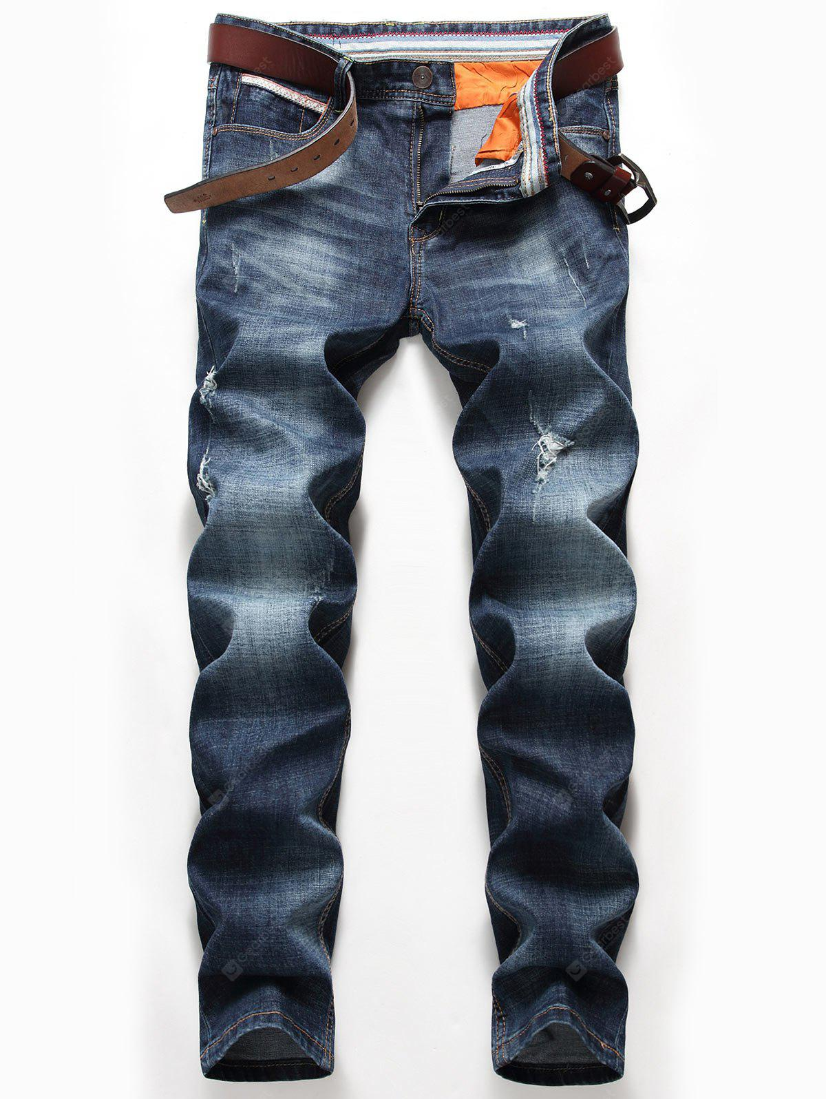 Straight Leg Whisker Distressed Jeans
