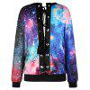 Starry Sky Print Drop Shoulder Lace Up Sweatshirt - COLORMIX