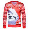 V Neck Necklake do Natal Cartoon Print Ugly T-shirt - VERMELHO