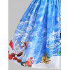 Christmas Snowman Snowflake Mesh Panel Dress - BLUE