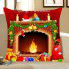 Christmas Fireplace Pattern Decorative Pillow Case - COLORFUL