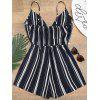 Striped Tied Cami Beach Romper - DEEP BLUE