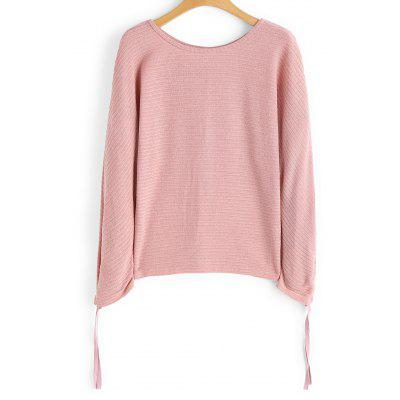 Gathered Sleeve Knit Pullover Sweater -  L  PINK