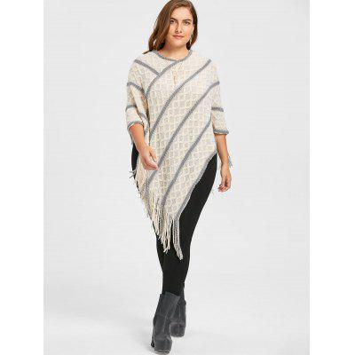 Asymmetric Plus Size Striped Fringe Cape SweaterPlus Size<br>Asymmetric Plus Size Striped Fringe Cape Sweater<br><br>Collar: V-Neck<br>Material: Polyester, Spandex<br>Package Contents: 1 x Sweater<br>Pattern Type: Striped<br>Season: Fall, Winter<br>Sleeve Length: Full<br>Style: Fashion<br>Type: Pullovers<br>Weight: 0.3750kg