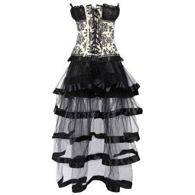 Ruffled Jacquard Vintage Overbust Corset With SkirtLingerie &amp; Shapewear<br>Ruffled Jacquard Vintage Overbust Corset With Skirt<br><br>Embellishment: Bowknot,Ruffles,Vintage<br>Material: Polyester<br>Package Contents: 1 x Corset Top 1 x Skirt<br>Pattern Type: Paisley<br>Weight: 0.4500kg
