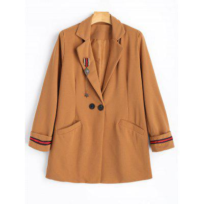 Brooch Embellished One Button Lapel Coat