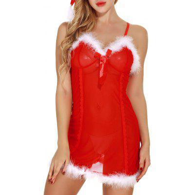 Sheer Mesh Santa Lingerie Babydoll with FeathersLingerie &amp; Shapewear<br>Sheer Mesh Santa Lingerie Babydoll with Feathers<br><br>Embellishment: Bowknot,Feathers<br>Fabric Type: Voile<br>Material: Polyester<br>Package Contents: 1 x Babydoll 1 x G-string 1 x Hat<br>Pattern Type: Solid<br>Weight: 0.1500kg