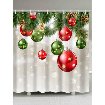 Christmas Tree Baubles Print Waterproof Shower Curtain