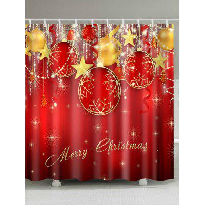 Christmas Baubles Star Print Waterproof Shower Curtain