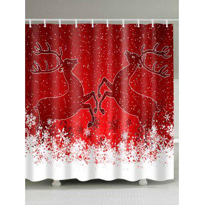 Christmas Snowy Deers Print Waterproof Shower Curtain