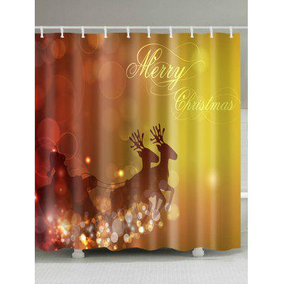 Merry Christmas Sled Print Waterproof Shower Curtain
